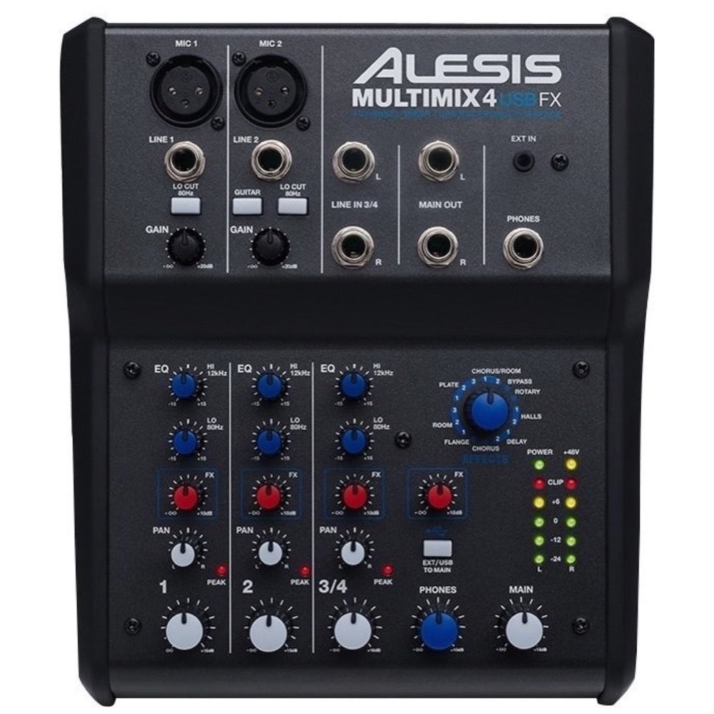 Alesis MultiMix 4 USB FX Mixer, 4-Channel Mixer with FX