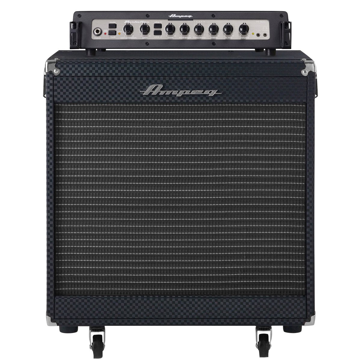 Ampeg Portaflex PF800 Head and PF115HE Cab Bass Amplifier Stack