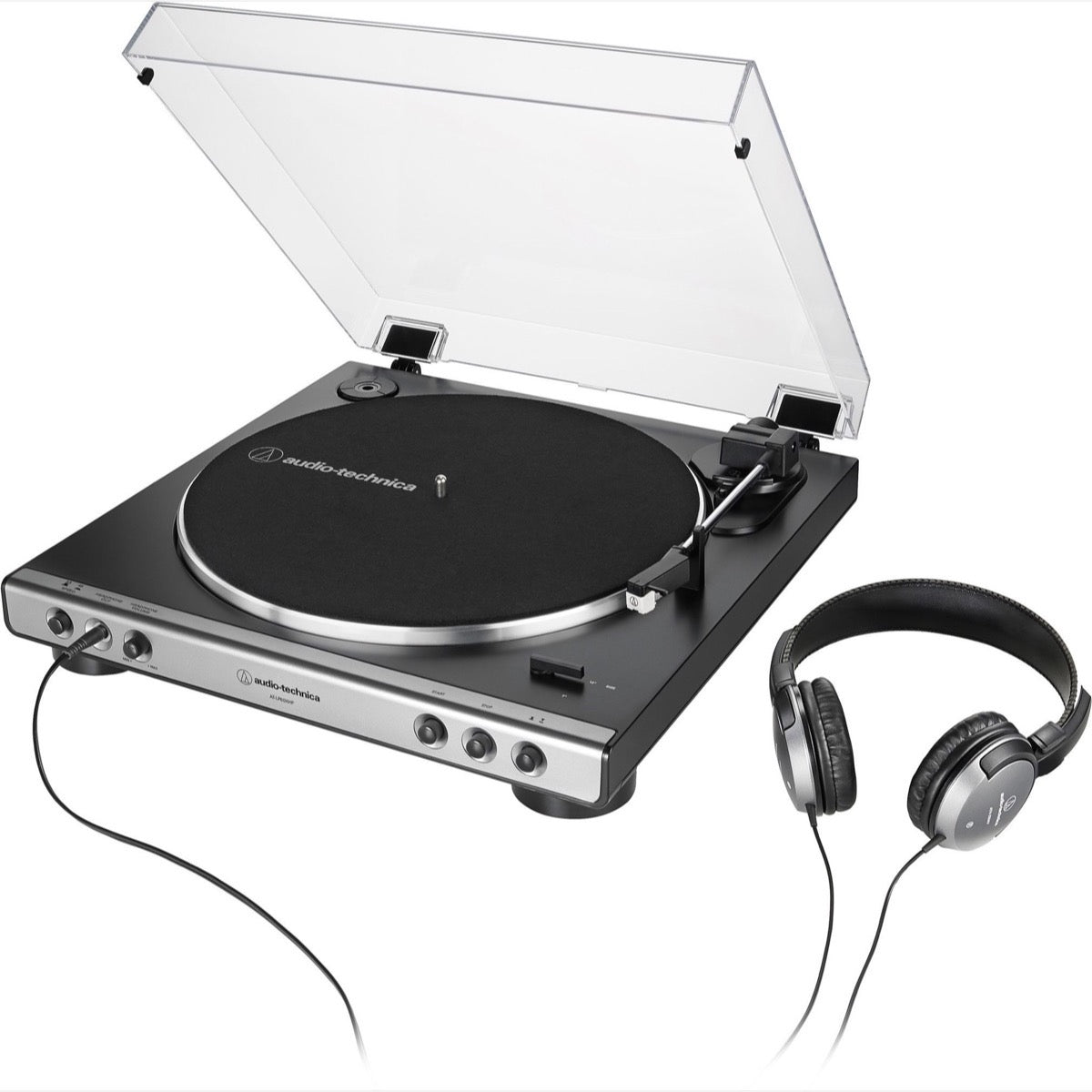 Audio-Technica AT-LP60XHP Belt-Drive Turntable + Headphones Combo Pack, Gray Metallic