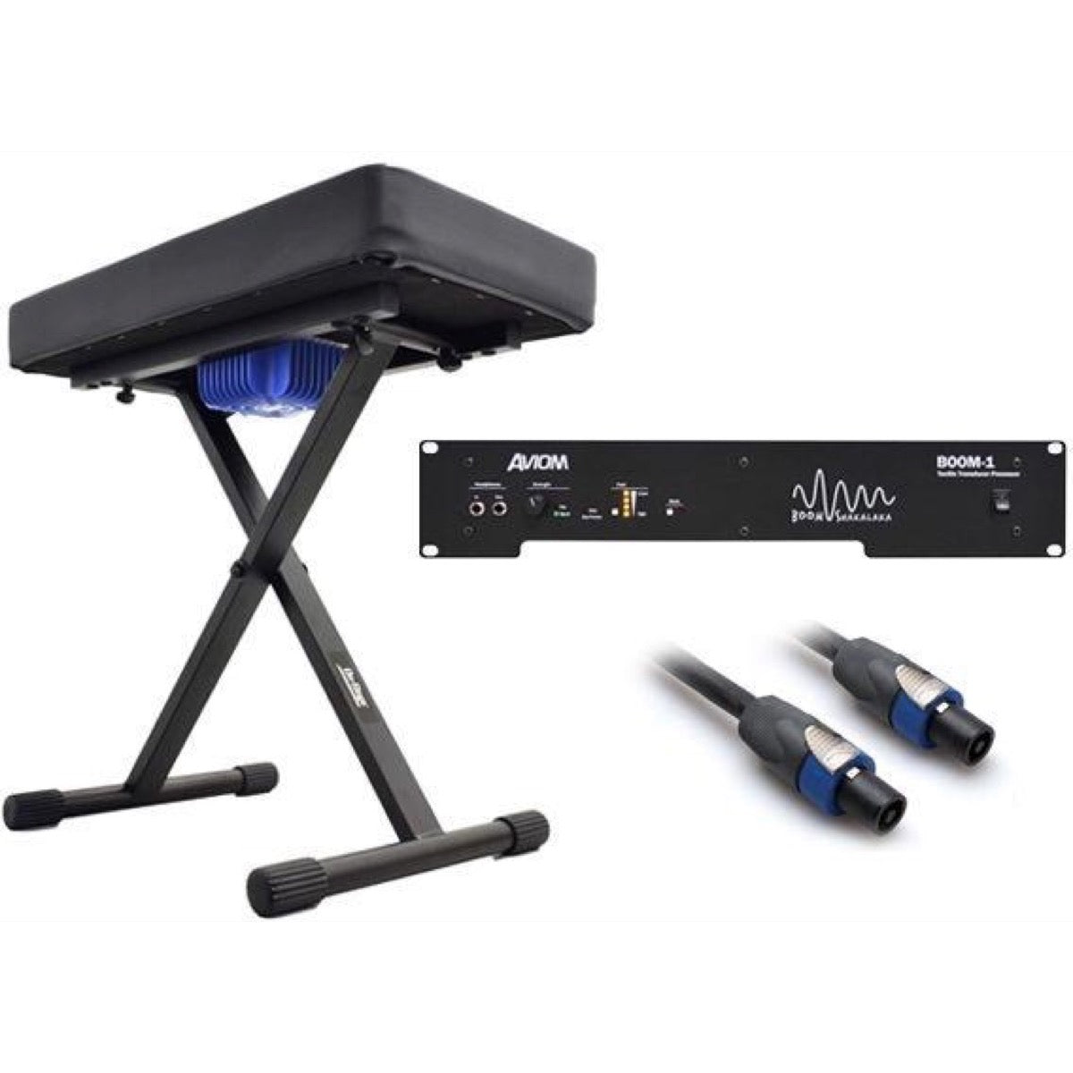 Aviom KBS-1 Keyboard Bench with Tactile Transducer, with Aviom BOOM-1 Tactile Transducer Processor Amp