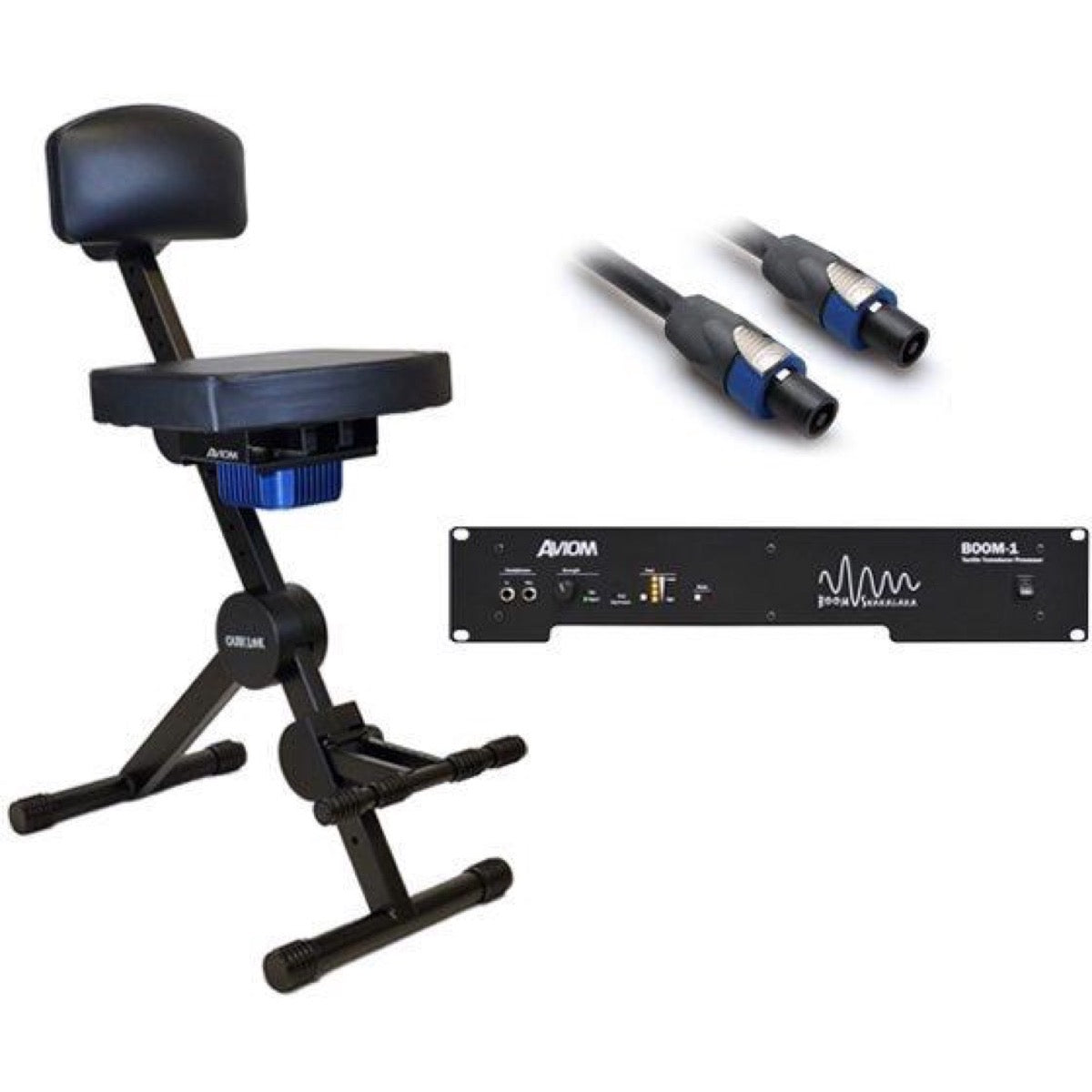 Aviom PFS-1 Tactile Transducer Performance Stool, with Aviom BOOM-1 Tactile Transducer Processor Amp