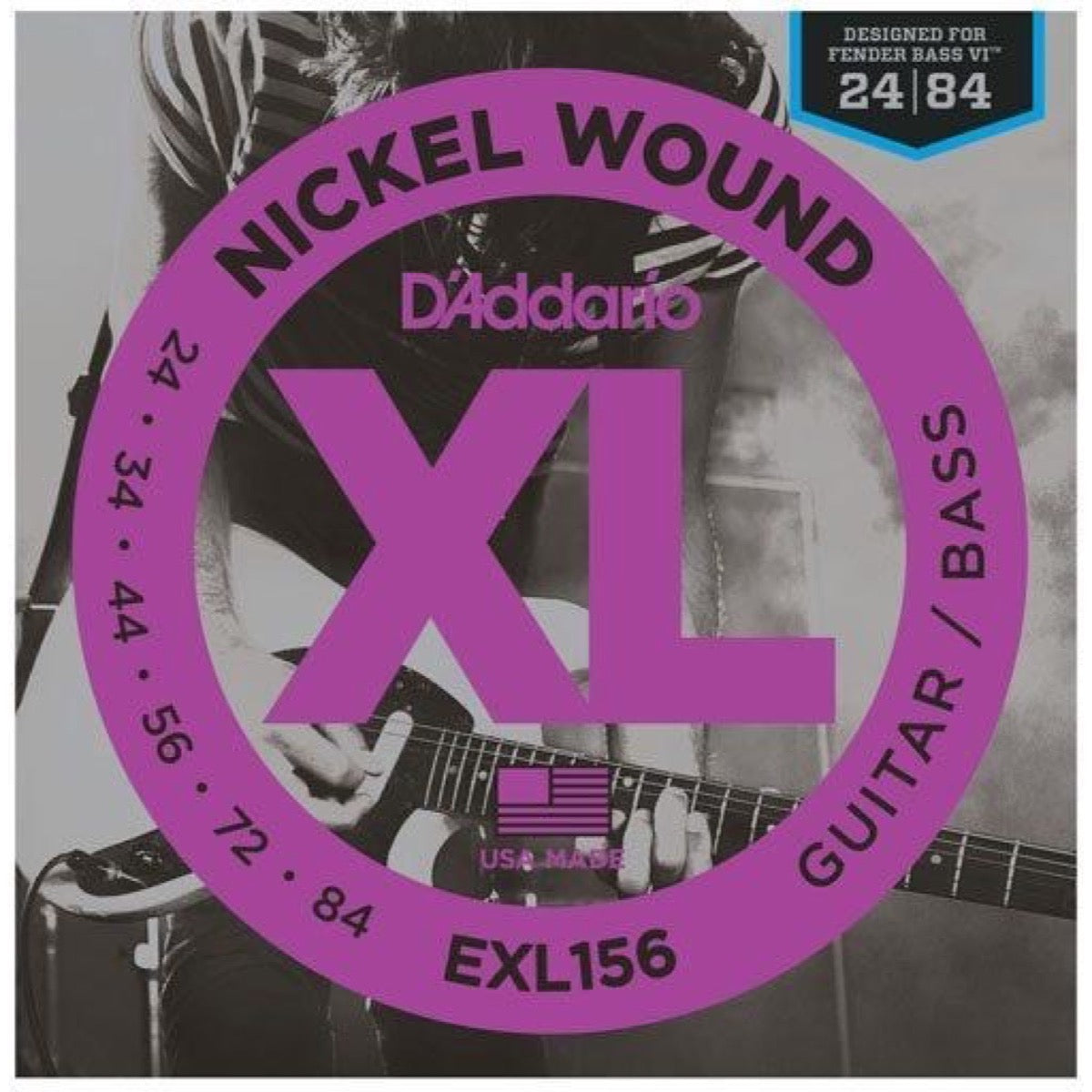 D'Addario EXL156 Nickel Wound Fender Bass VI Strings, EXL156, 24-84