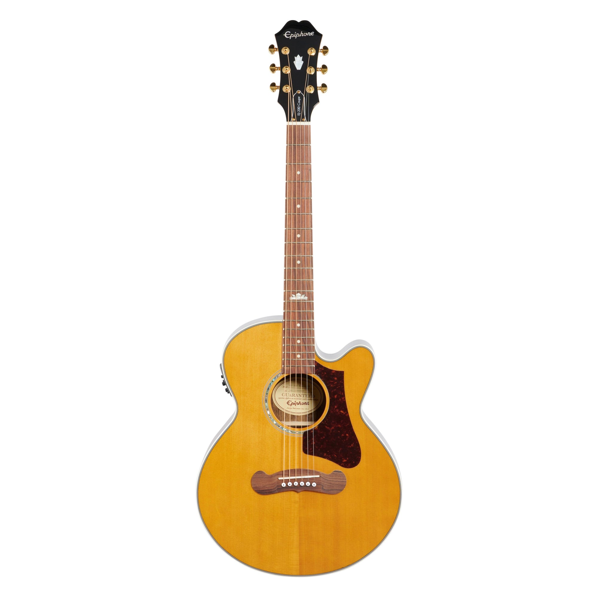 Epiphone EJ-200 SCE Coupe Travel Acoustic-Electric Guitar, Vintage Natural