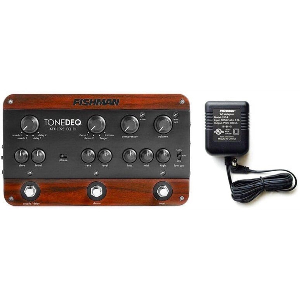 Fishman ToneDEQ AFX Preamp EQ and DI Box with Dual FX, with Free Fishman 910R Power Supply