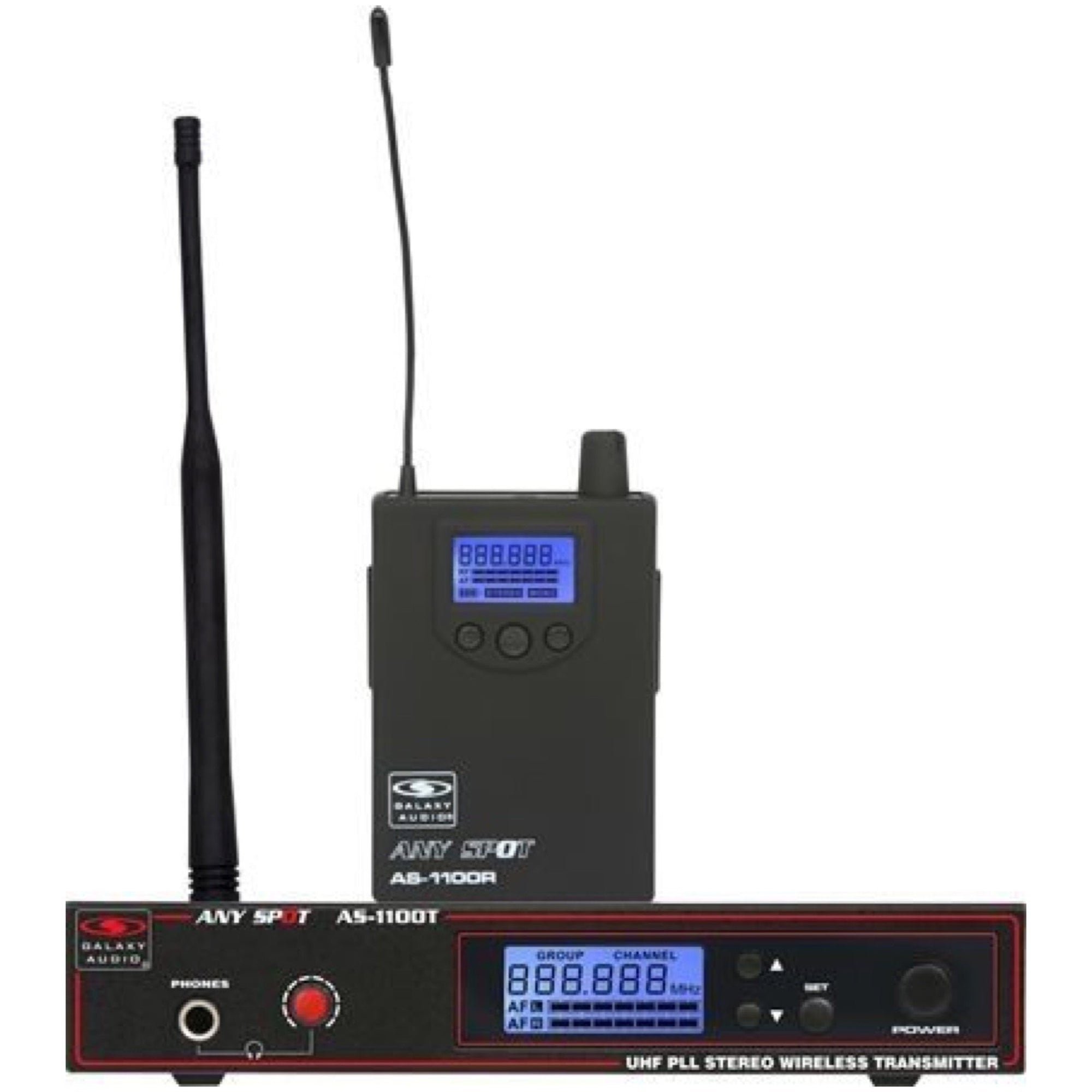 Galaxy Audio AS-1100 Selectable-Frequency Wireless In-Ear Monitor Personal System, Band D (584-607 MHz)