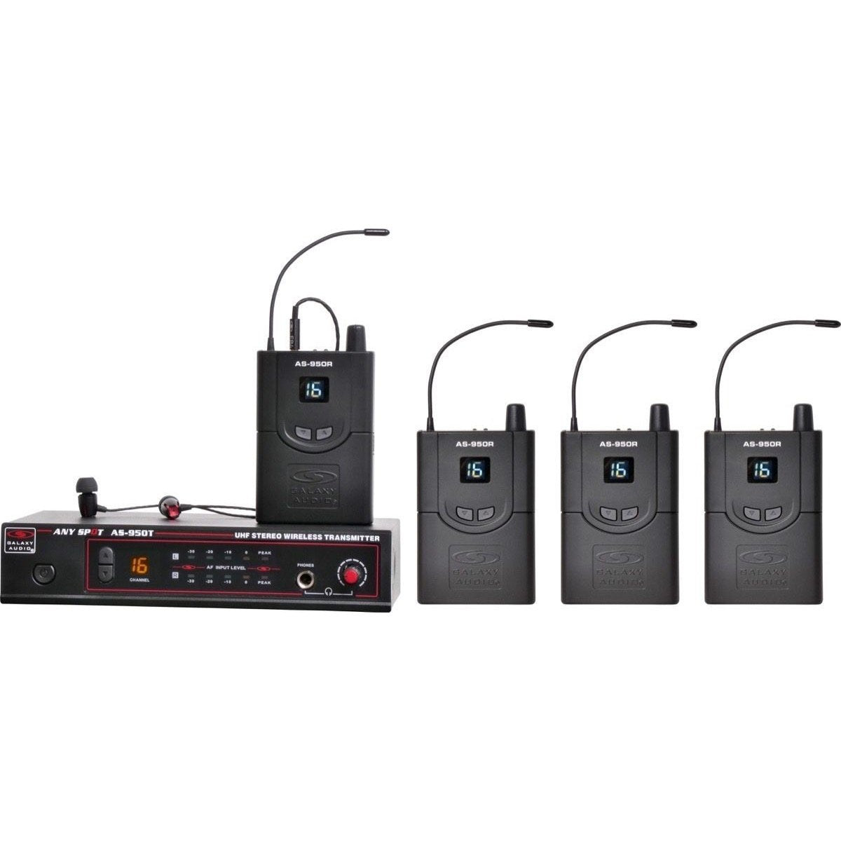 Galaxy Audio AS-950-4 Wireless In-Ear Monitor Band Pack, Band N (518-542 MHz)