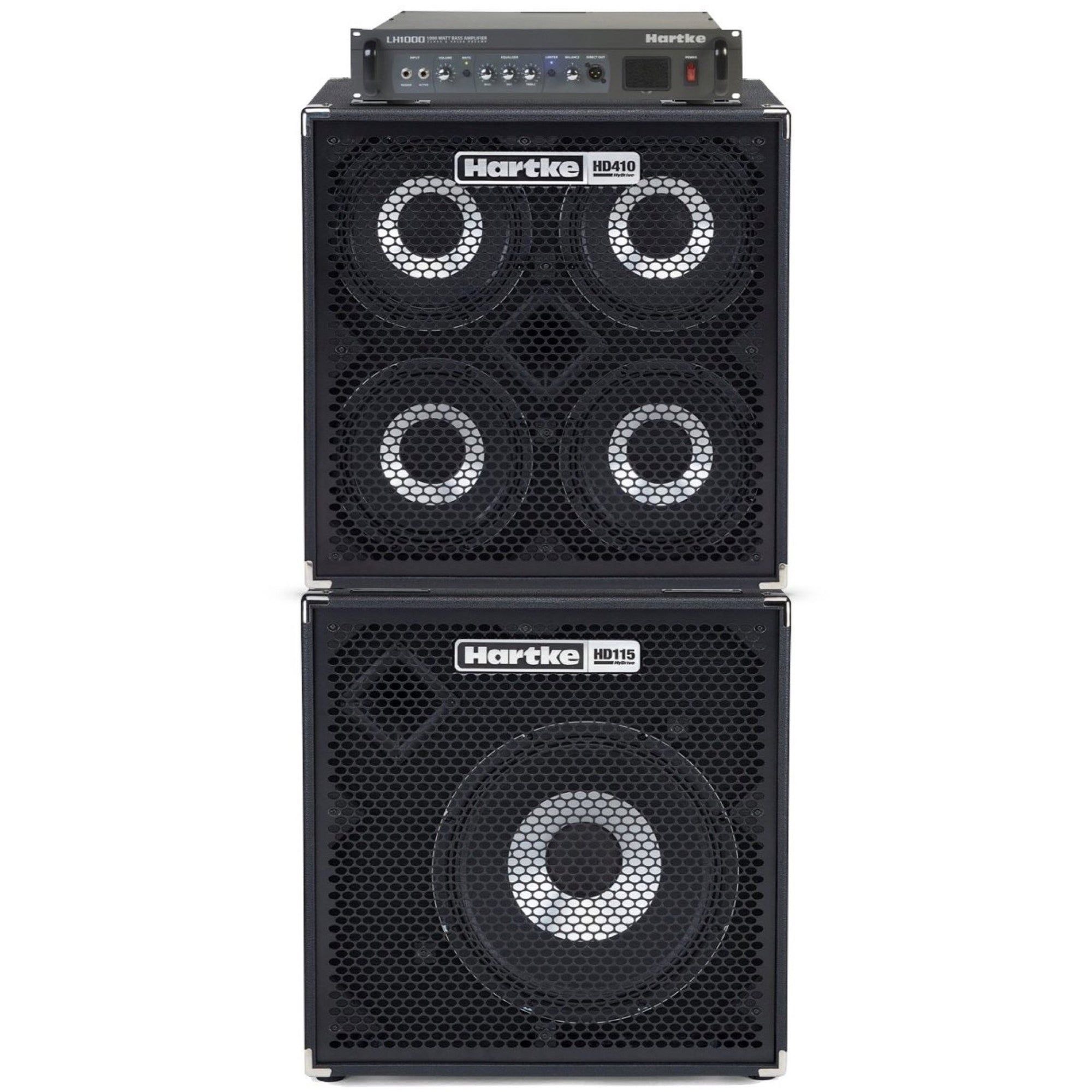 Hartke LH1000 Bass Head with HD410 and HD115 Bass Cabinet Full Stack Pack