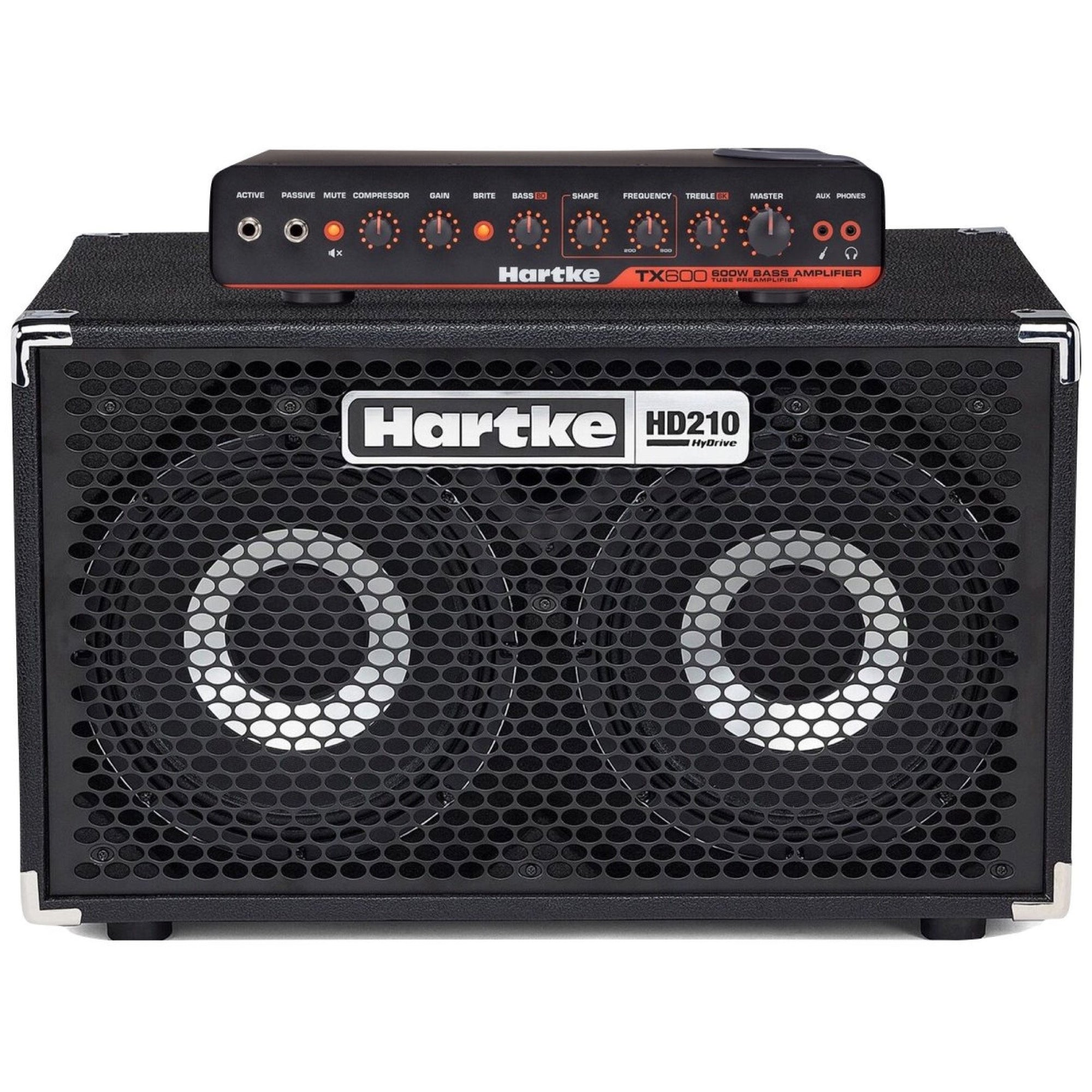 Hartke TX600 Bass Head with HD210 Bass Cabinet Half Stack Pack