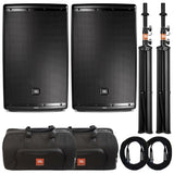 Load image into Gallery viewer, JBL EON615 Powered 2-Way Speaker with Bluetooth Control (1000 Watts, 1x15 Inch), Pair with Stands and Bags