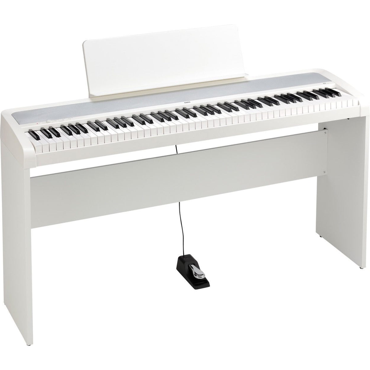 Korg B2 Digital Piano, 88-Key, White, with Stand and Pedal