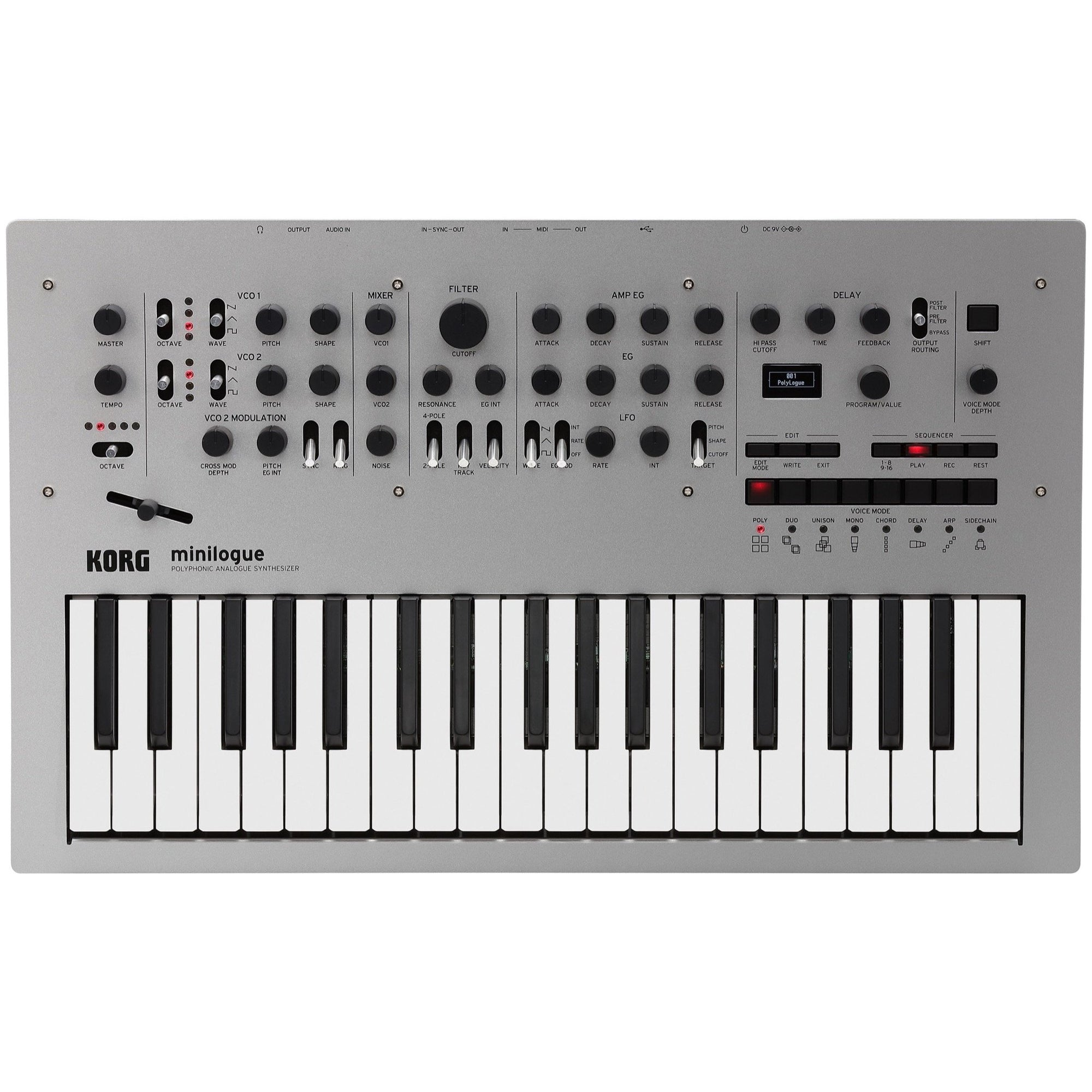 Korg Minilogue Analog Polyphonic Synthesizer, 37-Key, Silver
