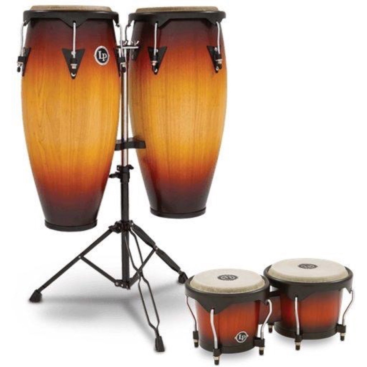 Latin Percussion 646 City Series Congas, Vintage Sunburst, with Bongo and Mount Package, 10 Inch and 11 Inch