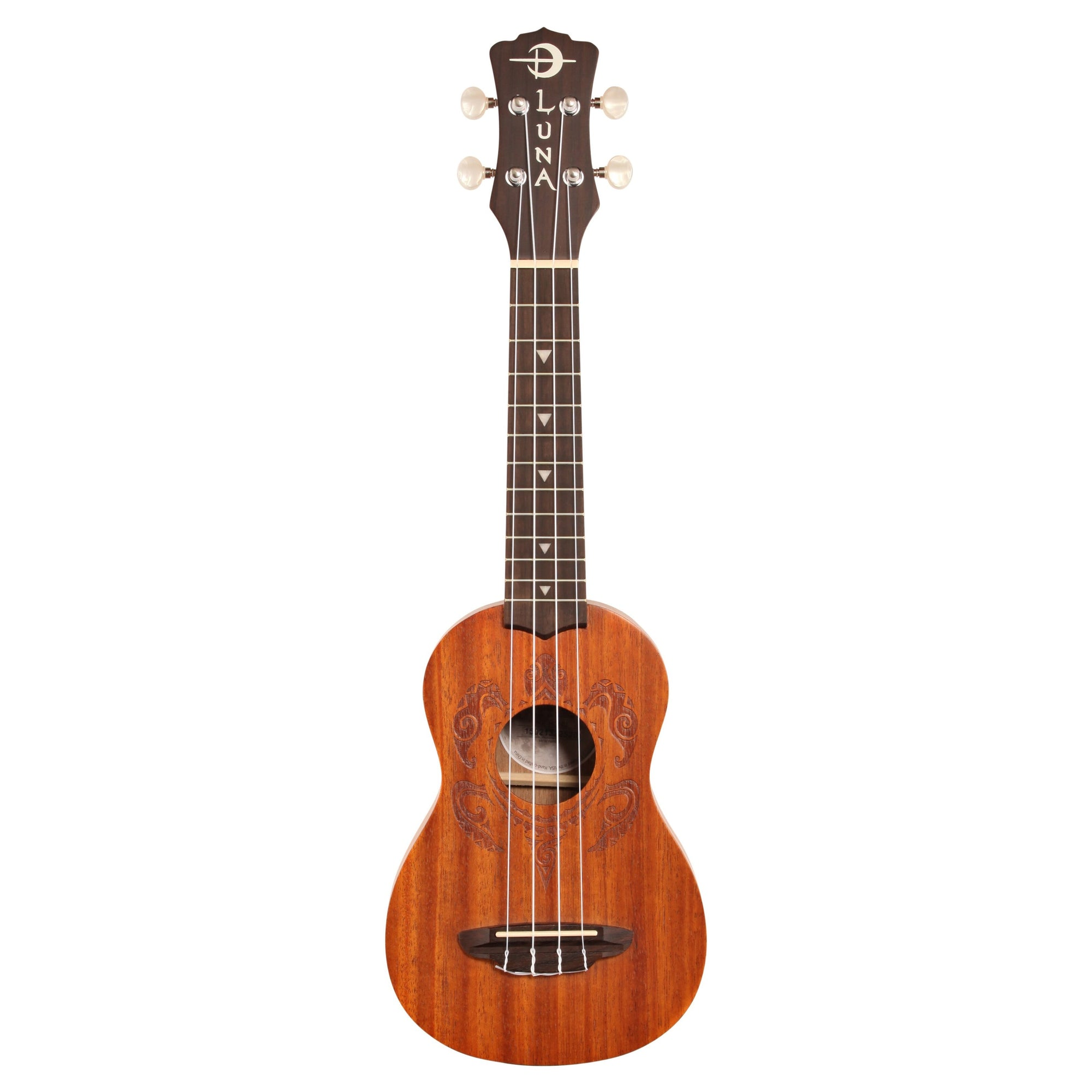 Luna Honu Soprano Ukulele (with Gig Bag), Tribal Turtle