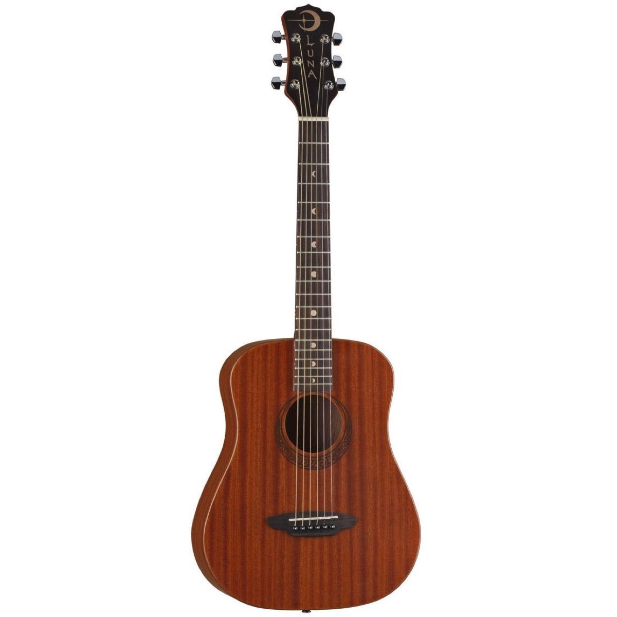 Luna Muse Series Safari 34-Size Acoustic Guitar (with Gig Bag), Mahogany Top