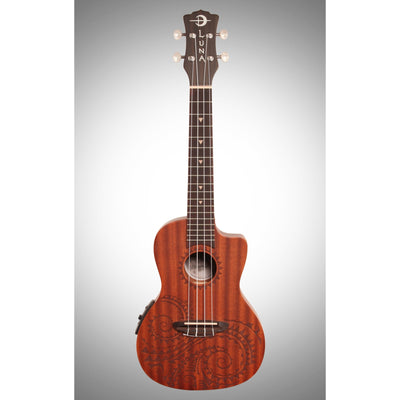 Luna Tattoo Acoustic-Electric Concert Ukulele (with Gig Bag)