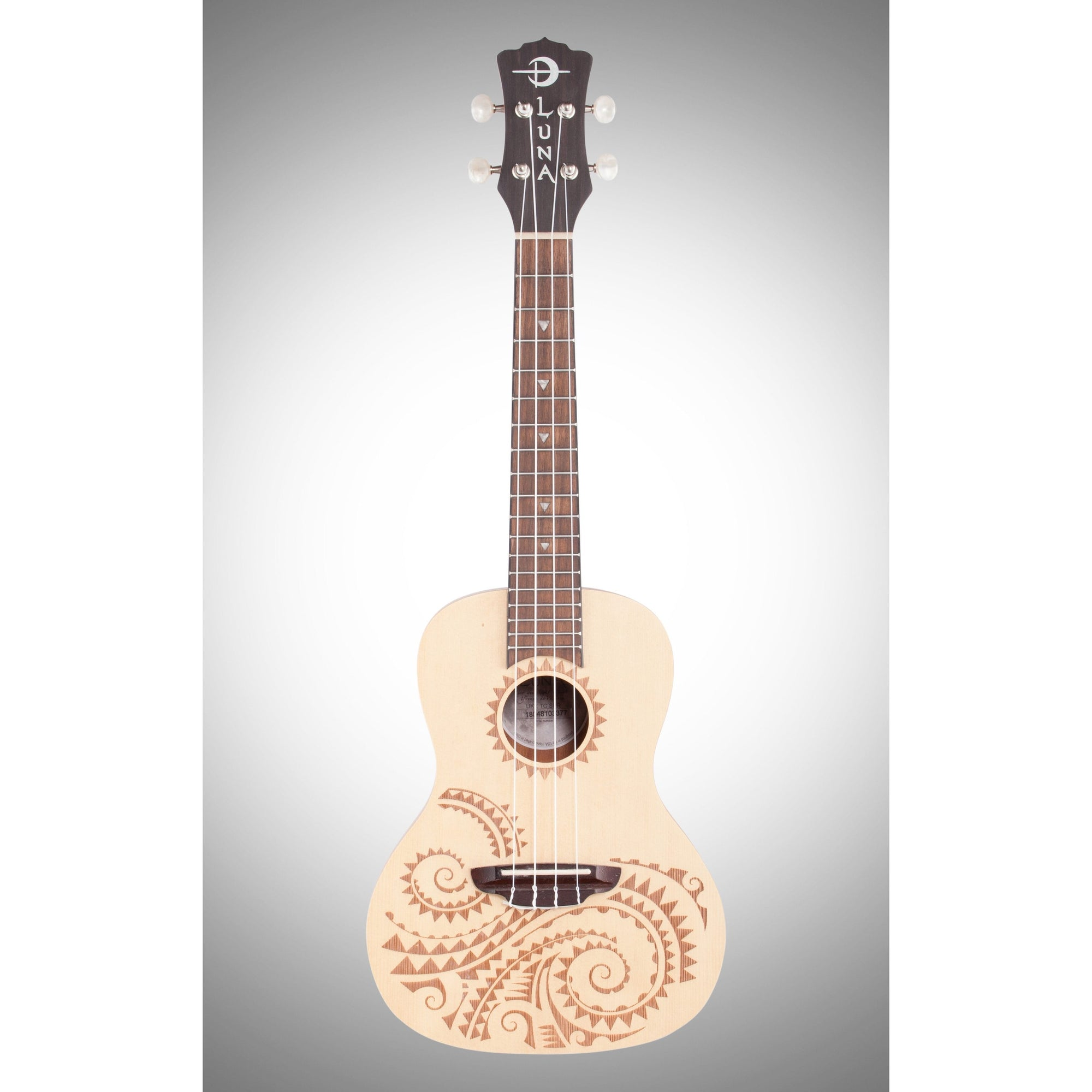 Luna Ukulele Tattoo Concert Ukulele (with Gig Bag), Spruce