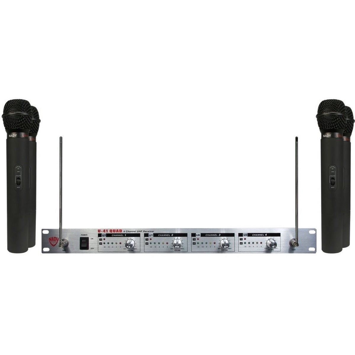 Nady U-41 QUAD HT UHF Handheld Wireless Microphone System