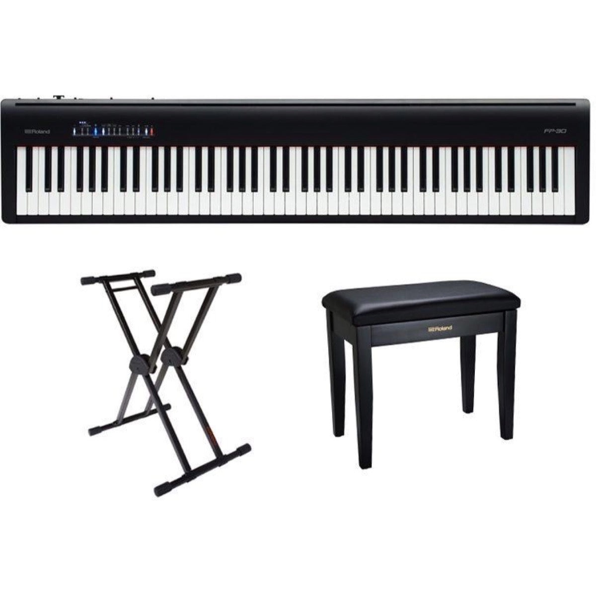 Roland FP-30 Digital Stage Piano, Black, with Stand and Bench