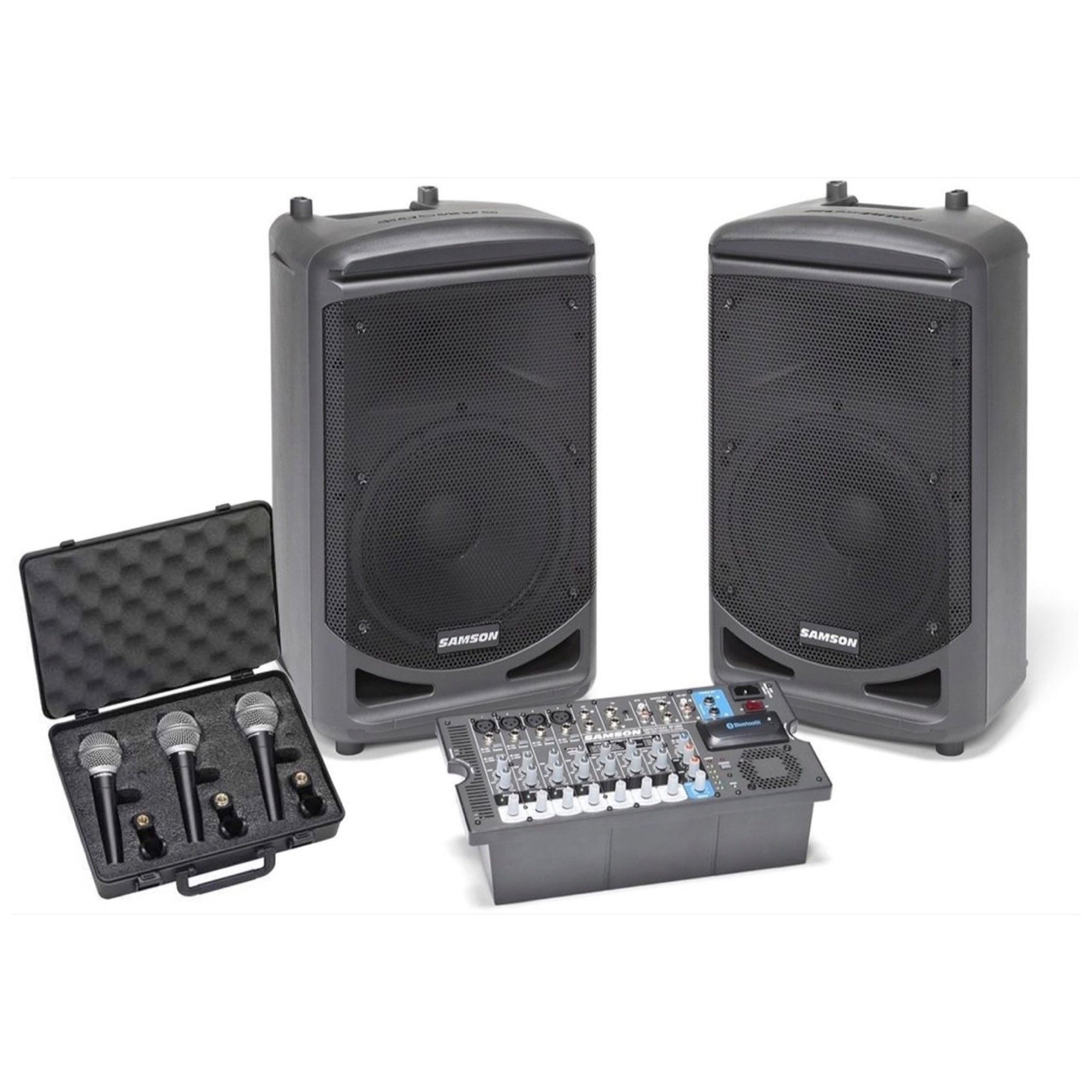 Samson XP1000 Portable Bluetooth PA System, with Free Samson R21 Microphone and MC18 XLR Pack