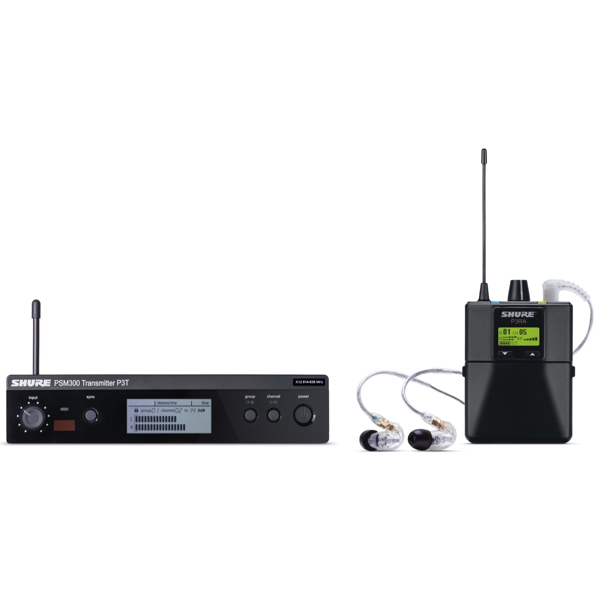 Shure PSM300 IEM Wireless In-Ear Monitor System with SE215CL Earphones, Band J13 (566.175 - 589.850 MHz)