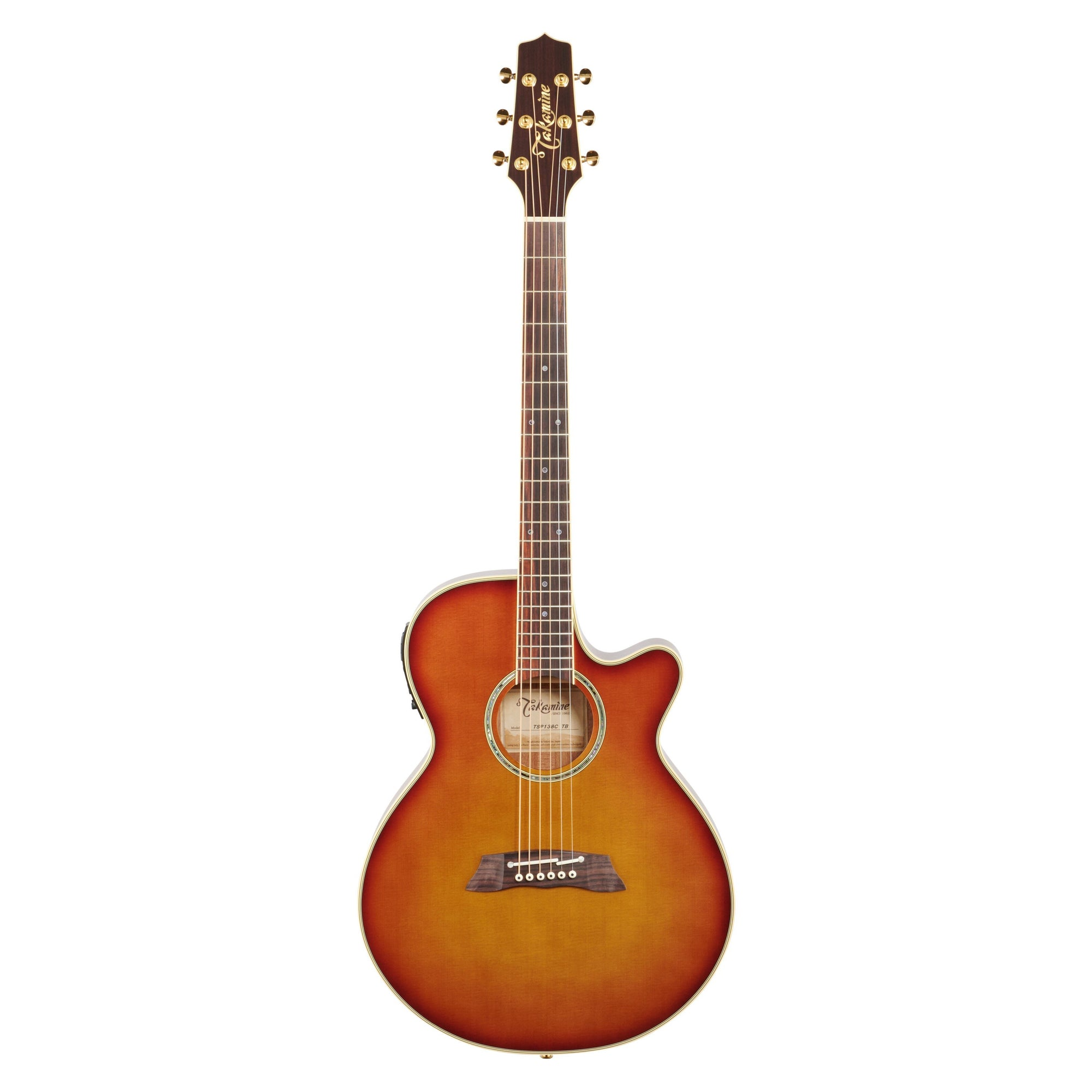 Takamine TSP138C Thinline Acoustic-Electric Guitar (with Gig Bag), Tea Burst
