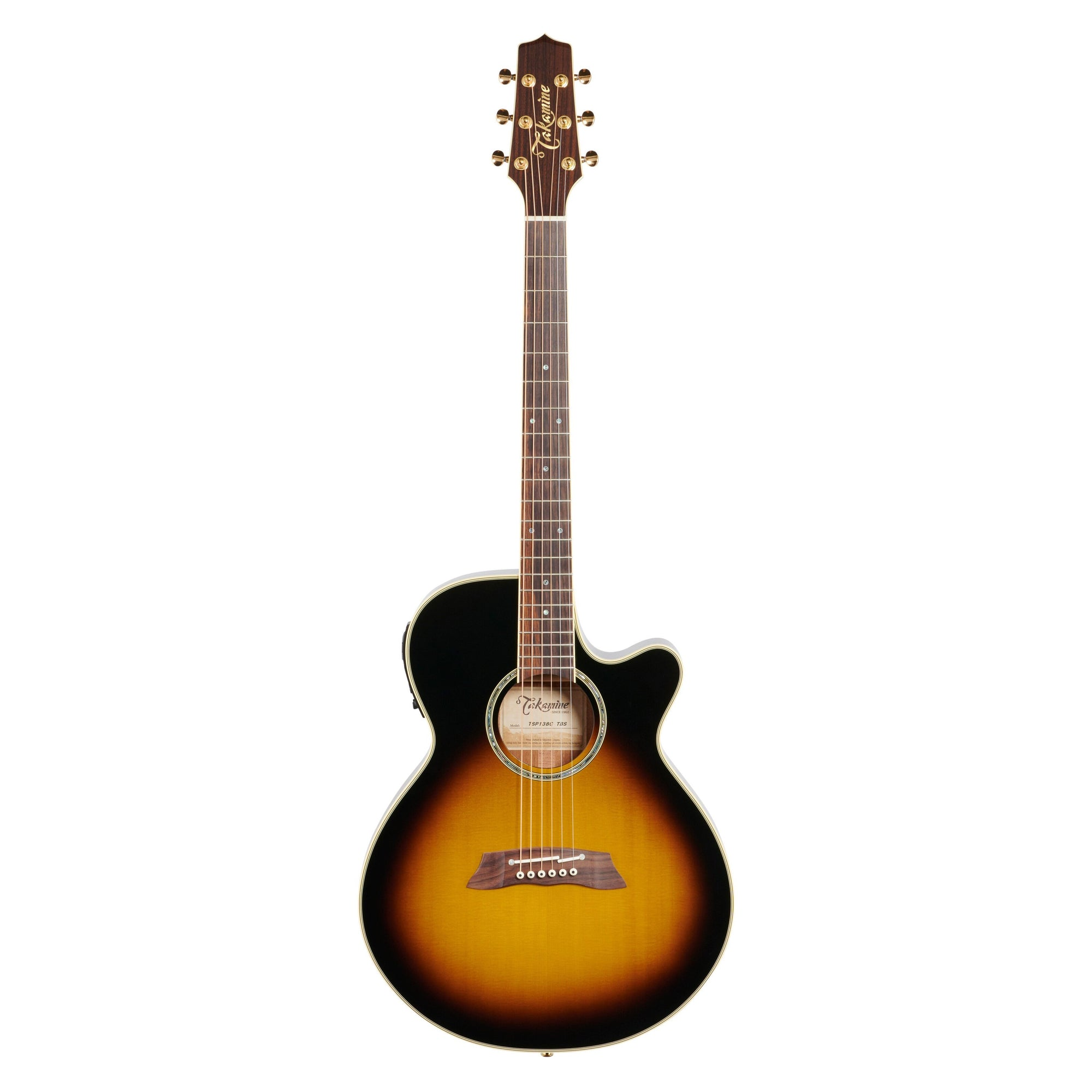 Takamine TSP138C Thinline Acoustic-Electric Guitar (with Gig Bag), Tobacco Sunburst