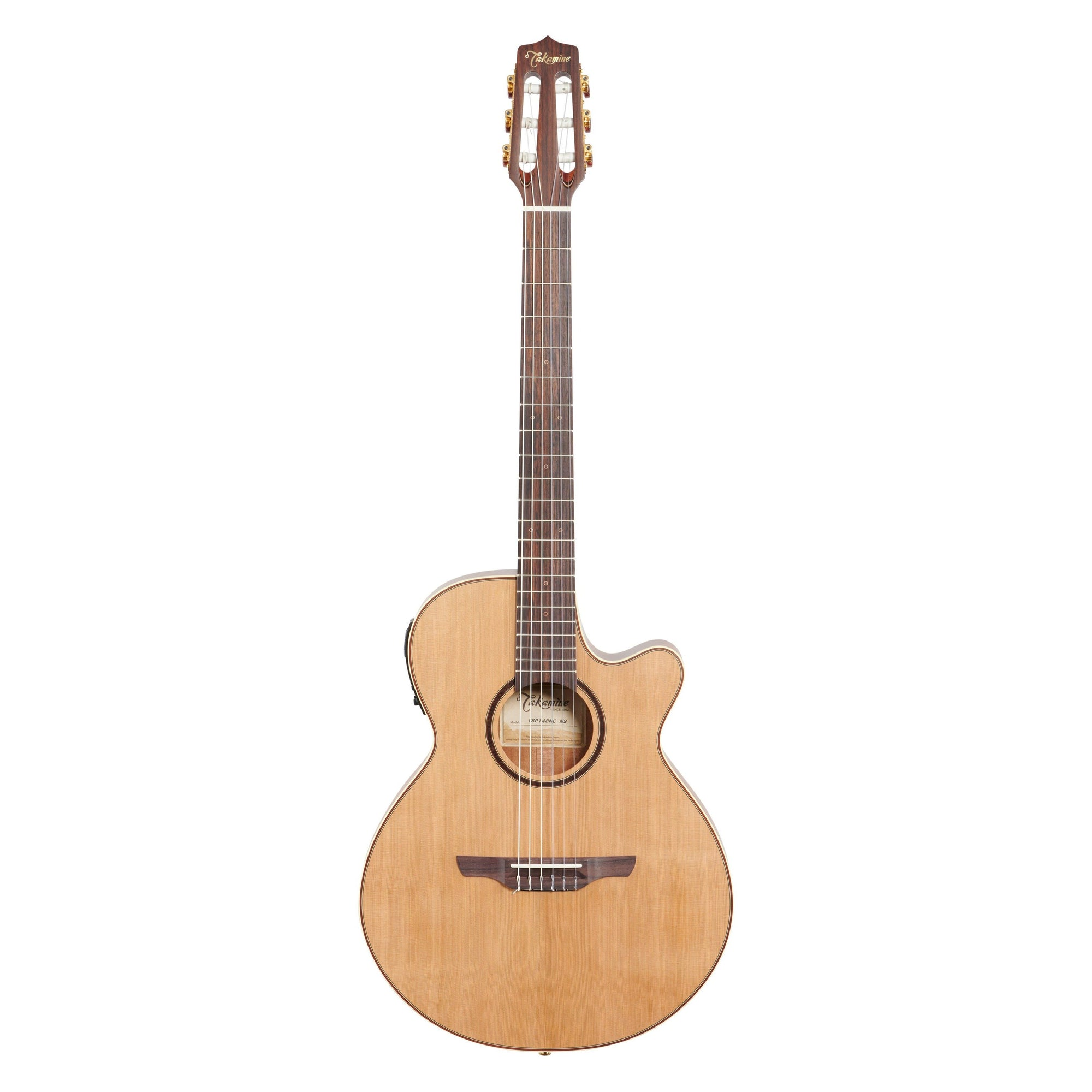 Takamine TSP148N Thinline Nylon Acoustic-Electric Guitar (with Gig Bag), Cedar Natural Satin
