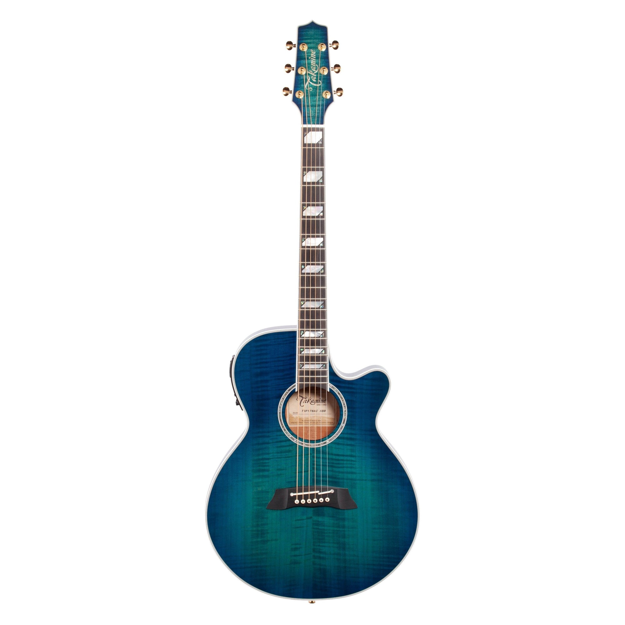 Takamine TSP178AC Thinline Acoustic-Electric Guitar (with Gig Bag), Blue Burst