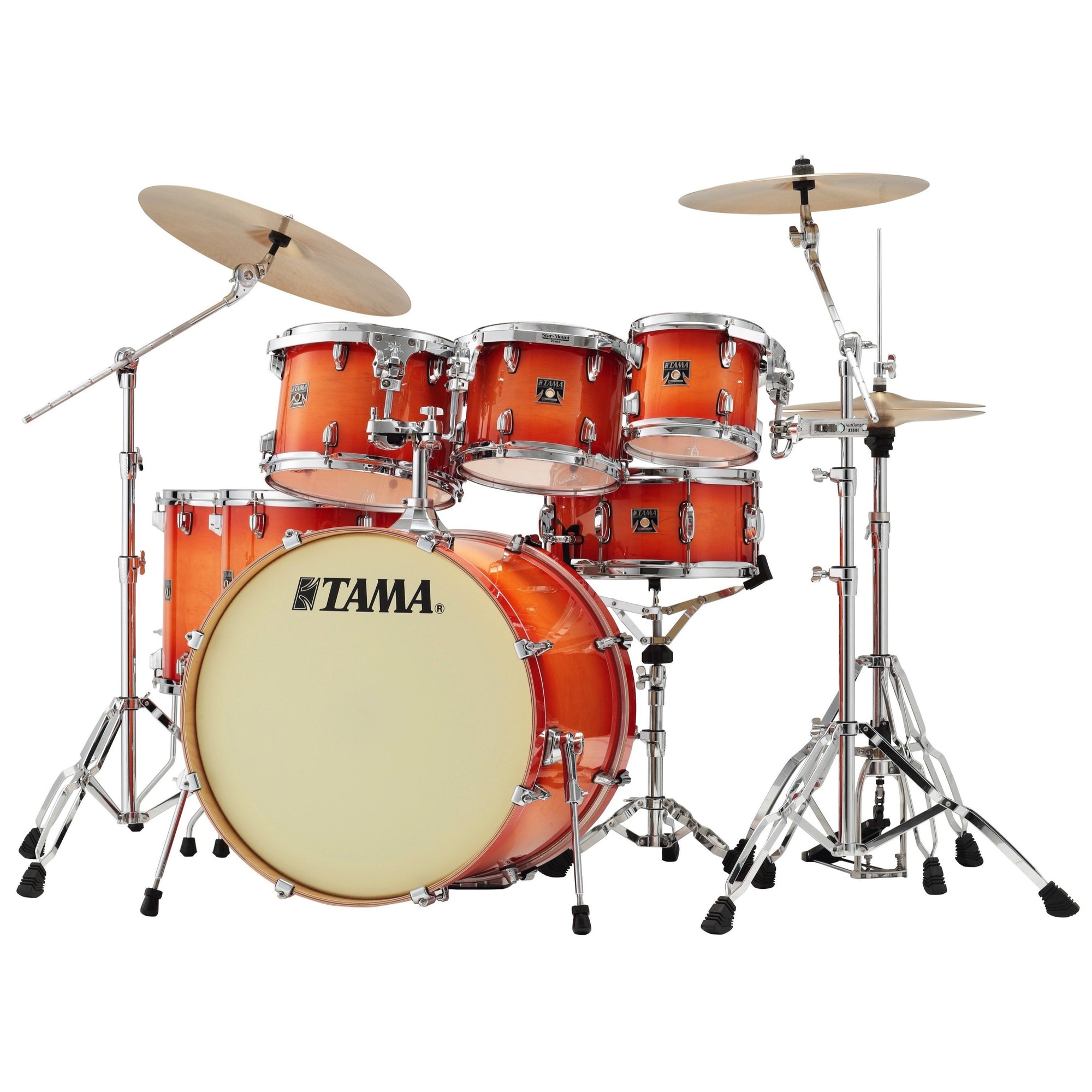 Tama CL72S Superstar Classic Drum Shell Kit, 7-Piece, Tangerine Lacquer Burst
