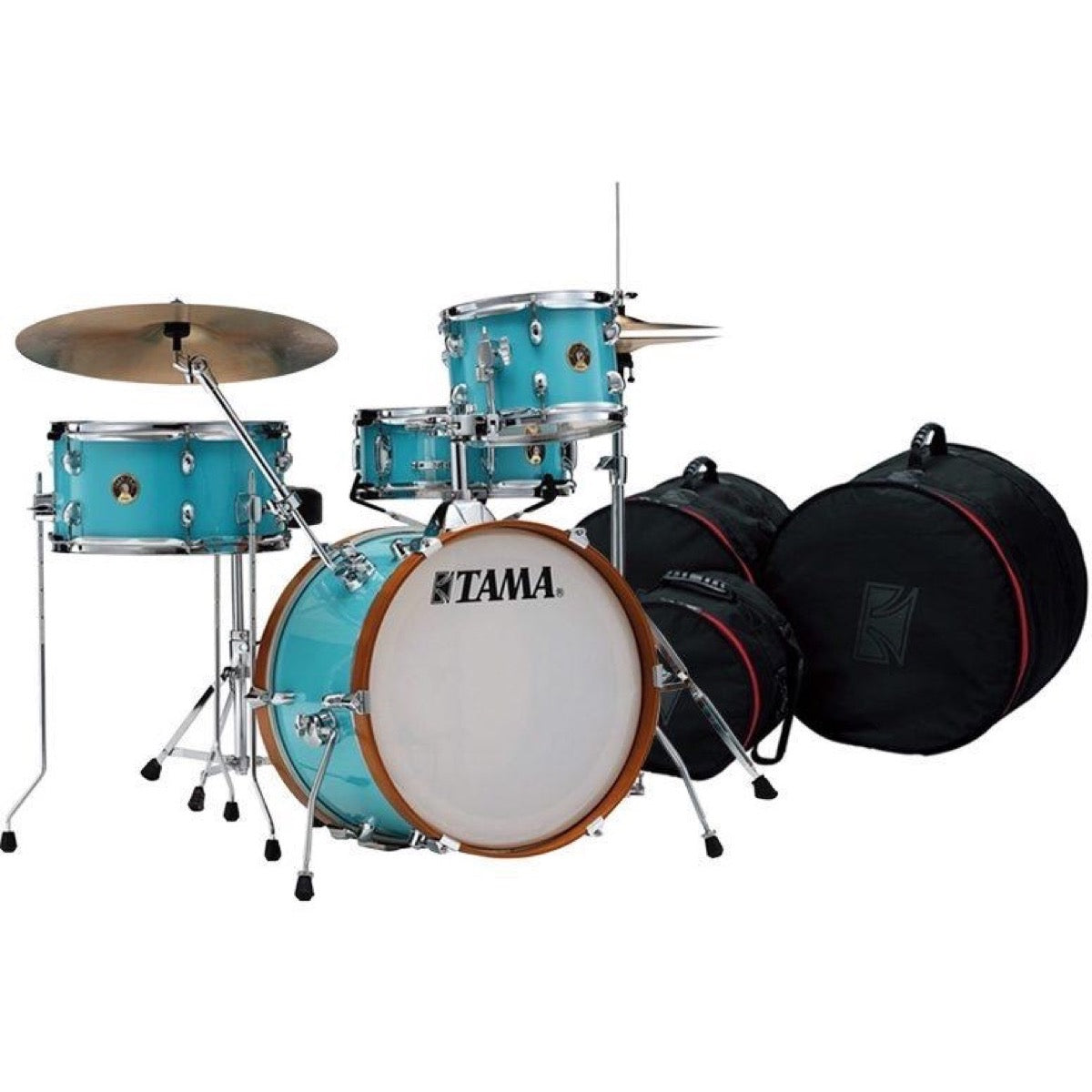 Tama Club Jam Drum Shell Kit, 4-Piece, Aqua Blue, with Drum Bags