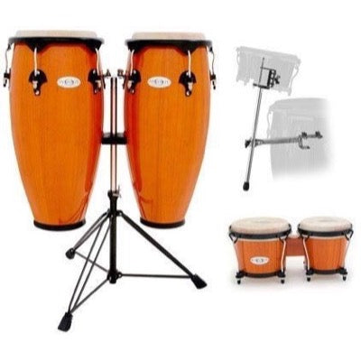 Toca Synergy Congas (with Stand), Amber, with Bongos and Bongos Stand