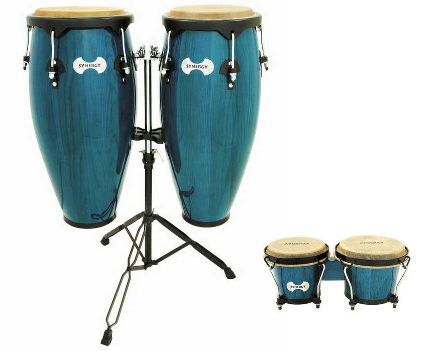 Toca Synergy Congas (with Stand), Bahama Blue, with Bongos and Bongos Stand