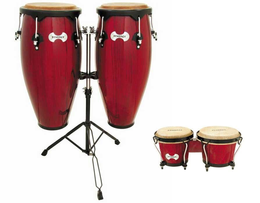 Toca Synergy Congas (with Stand), Rio Red, with Bongos and Bongos Stand