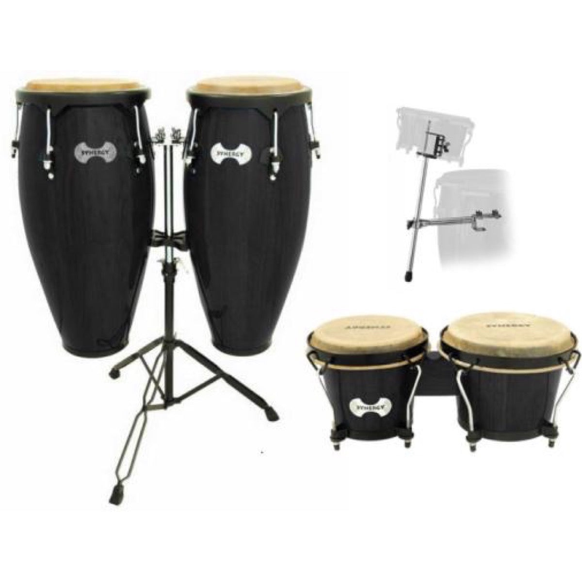 Toca Synergy Congas (with Stand), Tobacco Burst, with Bongos and Bongos Stand