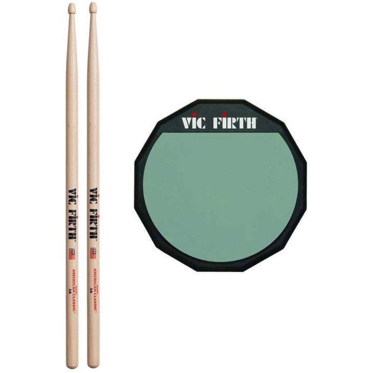 Vic Firth Soft Surface Practice Pad, Single Pad with Vic Firth Classic 5AW Sticks, 6 Inch