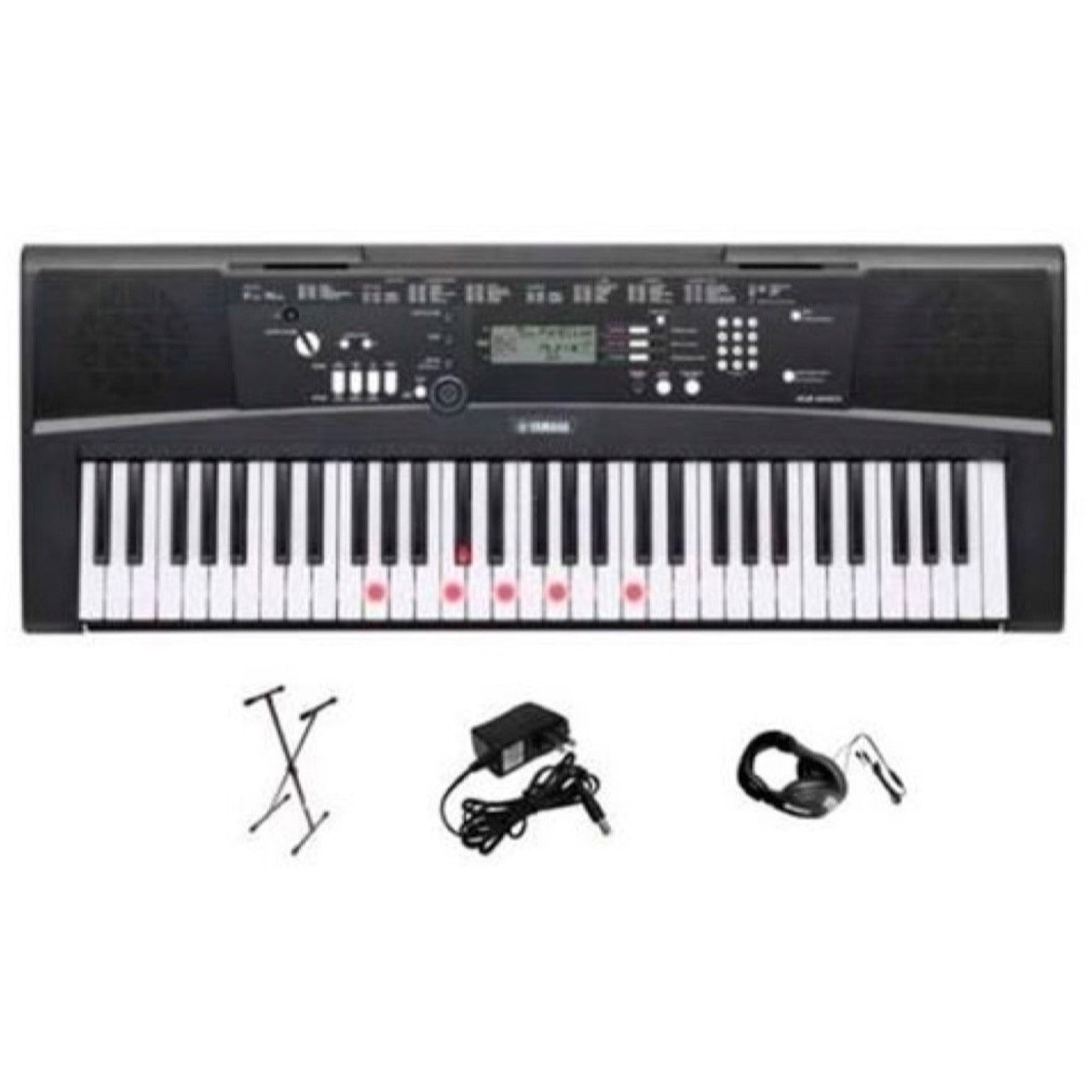 Yamaha EZ-220 Lighted Keyboard, 61-Key, Premium Pack, with Stand, Power Supply, and Headphones