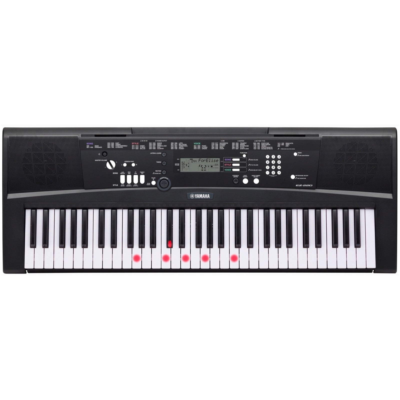 Yamaha EZ-220 Lighted Keyboard, 61-Key, Standard