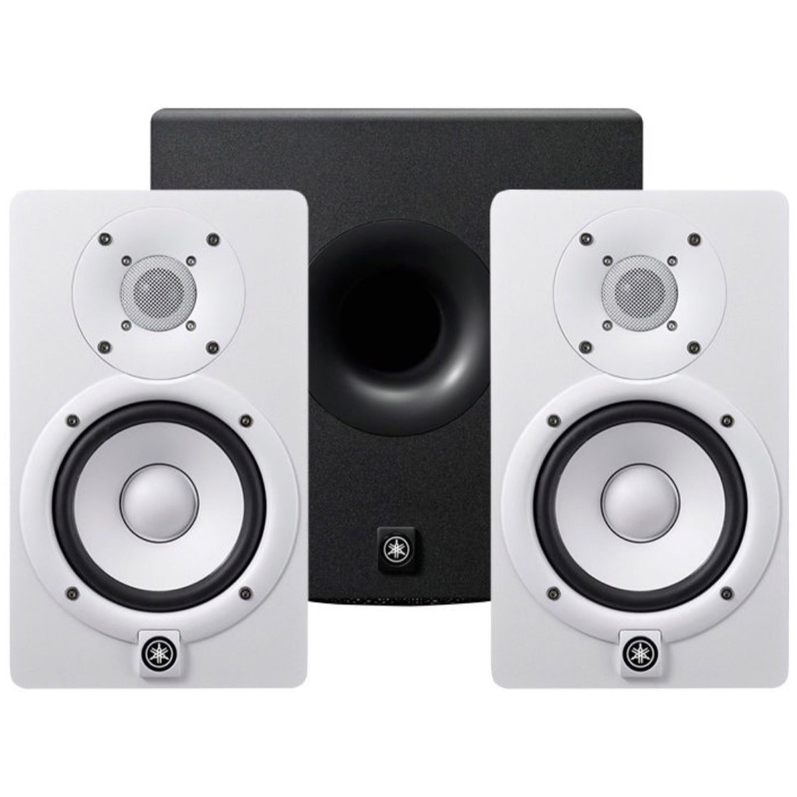 Yamaha HS5 Active Studio Monitor, White, Pair, with Yamaha HS8S Powered Studio Subwoofer