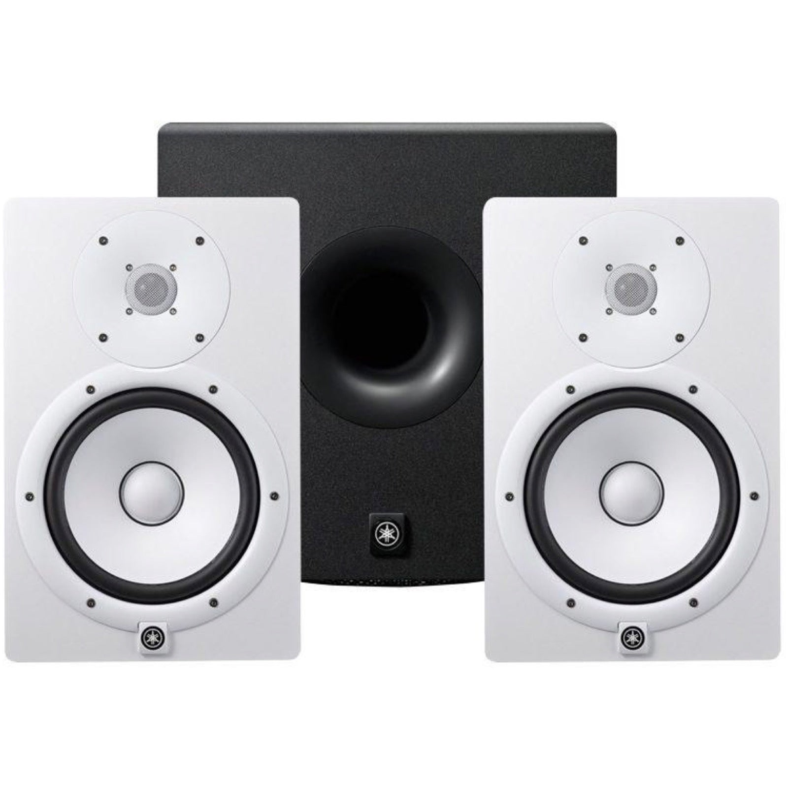 Yamaha HS8 Active Studio Monitor, White, Pair, with Yamaha HS8S Powered Studio Subwoofer