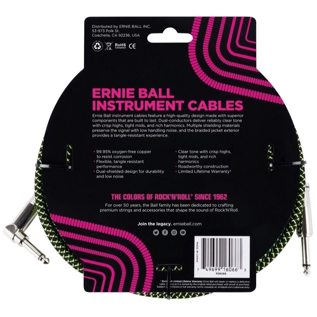Ernie Ball Braided Guitar Cable, Black and Green, 25 Foot