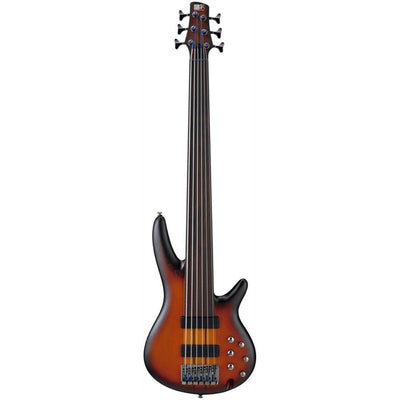 Ibanez SRF706 Portamento Fretless Electric Bass, 6-String, Brown Burst Flat