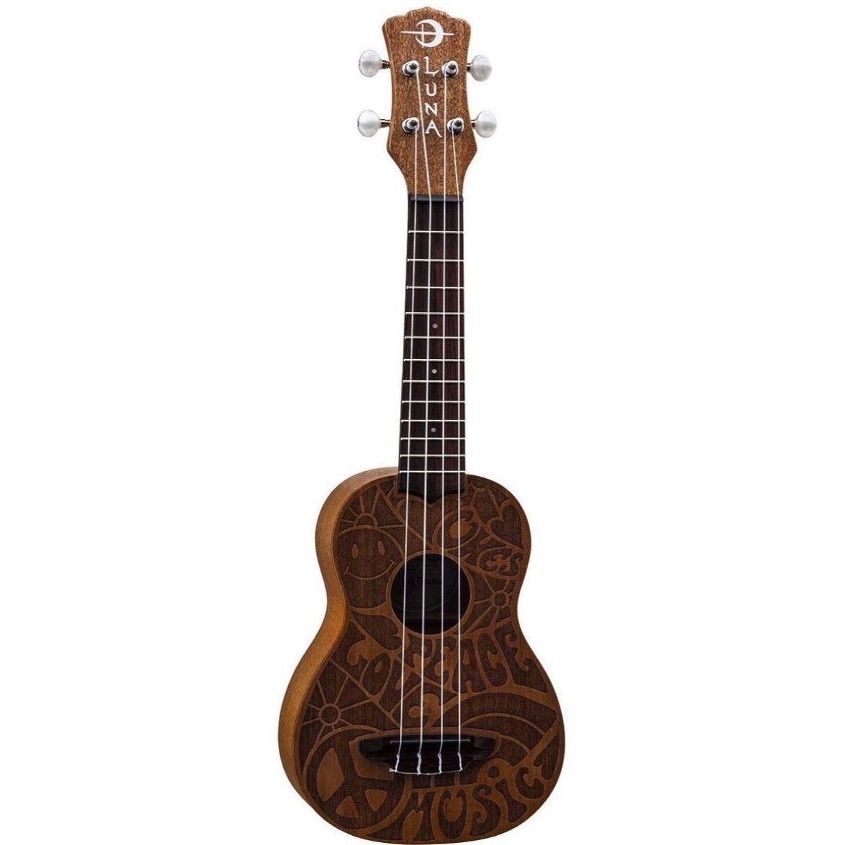 Luna Ukulele Love Music Peace Soprano Ukulele (with Gig Bag)