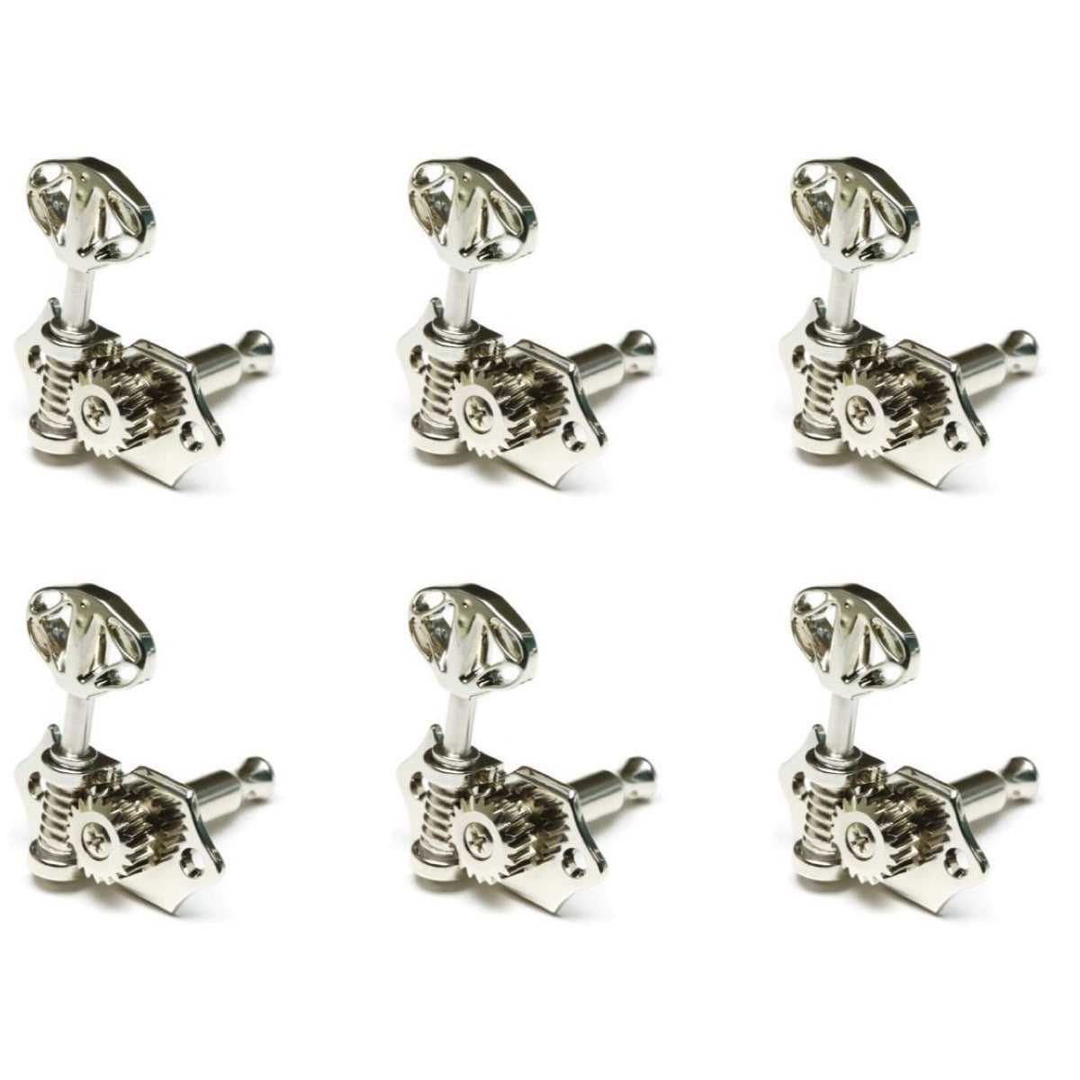 Graph Tech Ratio Open Back Skeleton Button Guitar Tuners (3+3), Nickel