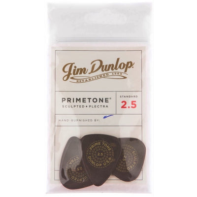 Dunlop Primetone Standard Sculpted Plectra Guitar Picks, 3-Pack, 2.5mm