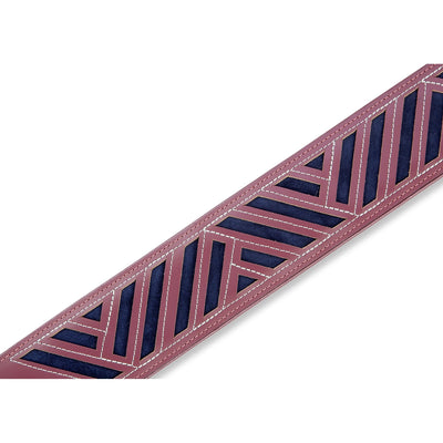 Levy's Deluxe Series Diamond Cut Out Leather Guitar Strap, Burgundy and Navy