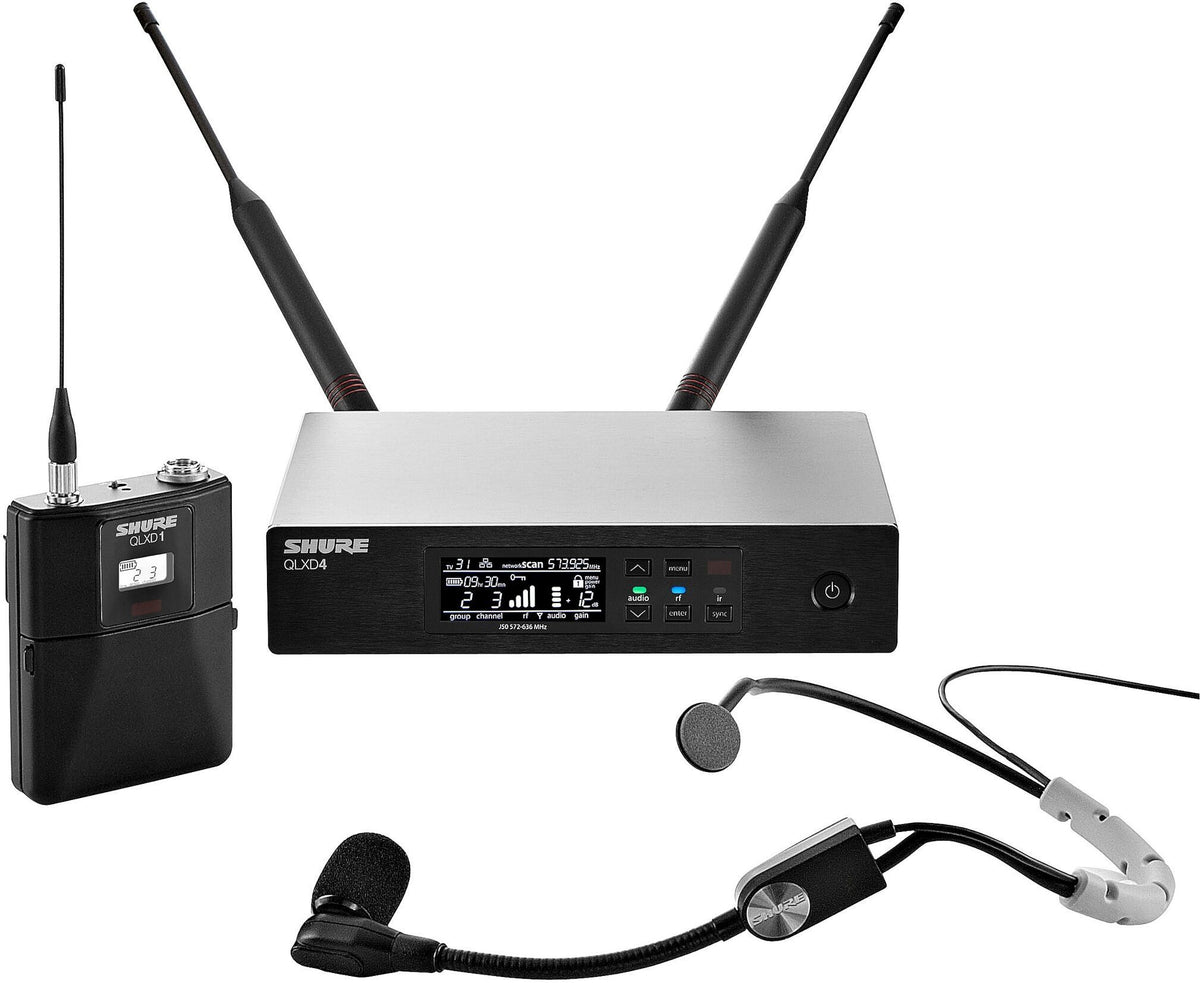 Shure QLXD14SM35 Wireless System with SM35 Headworn Microphone, Band H50 (534 - 598 MHz)