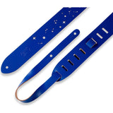 Load image into Gallery viewer, Levy's M12GSC Galaxy Punch Out Leather Guitar Strap, Royal Blue