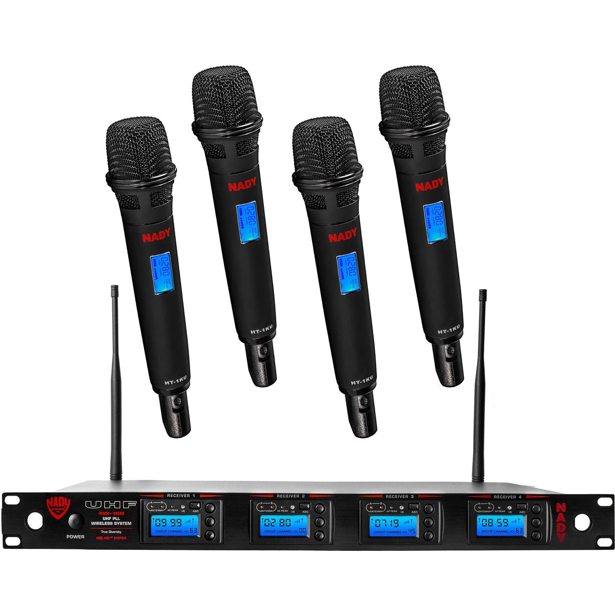 Nady 4W-1KU HT 4-Channel Handheld Wireless Microphone System, Band 3