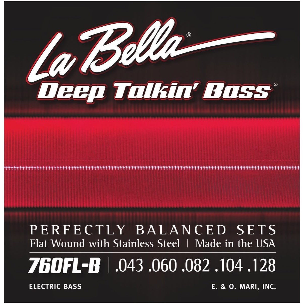 La Bella Deep Talkin Flatwound Stainless Steel 5-String Electric Bass Strings, 760FLB, 43-128, Light