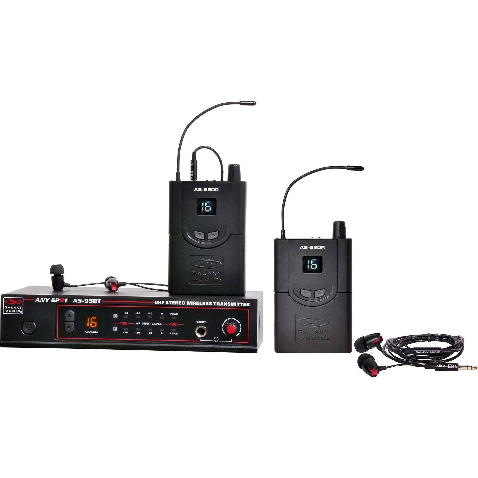 Galaxy Audio AS-950 Wireless In-Ear Monitor System, Band N (518-542 MHz), 2-Pack